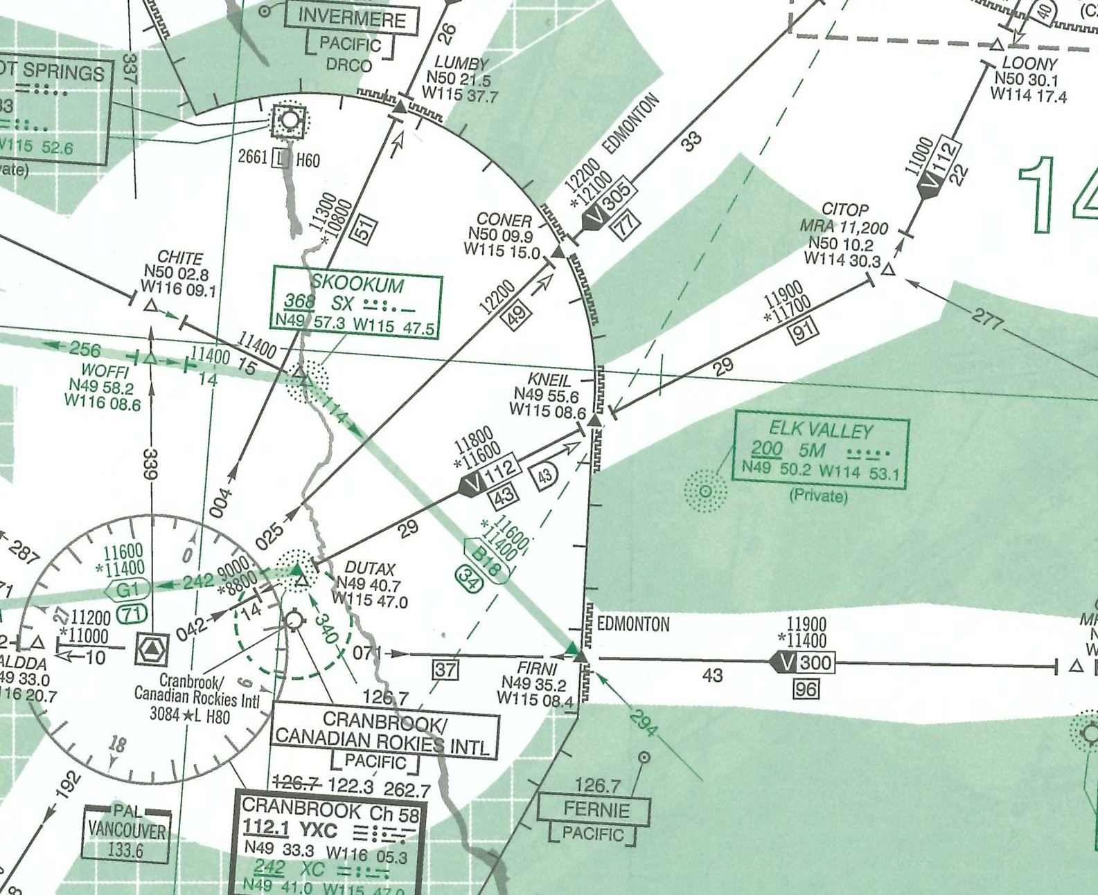 Low En Route Chart.  Langley Flying School.