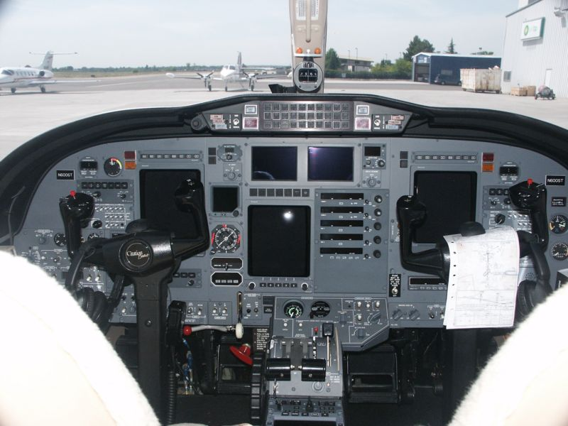 Citation Bravo Jet Cockpit.  Langley Flying School.