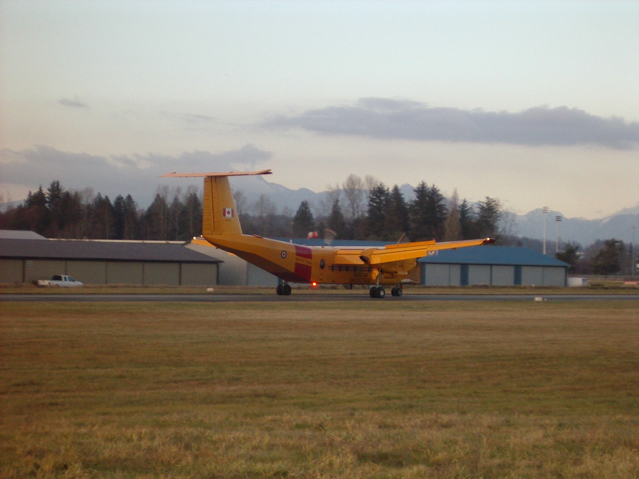 Canadian Forces Buffalo on Runway 01 at Langley Airport.  Langley Flying School.