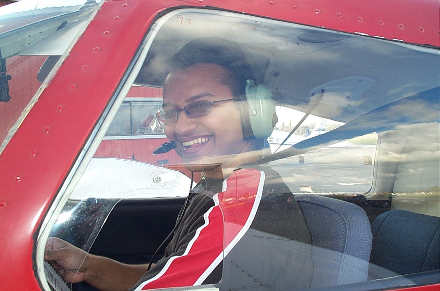 Aaron Pinto in the cockpit of Cherokee FKKF after completing his First Solo Flight on November 13, 2007.  Langley Flying School.