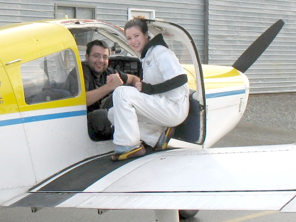 Alex Cadar with Flight Instructor Naomi Jones after the completion of Alex's First Solo Flight on November 22, 2008.  Langley Flying School