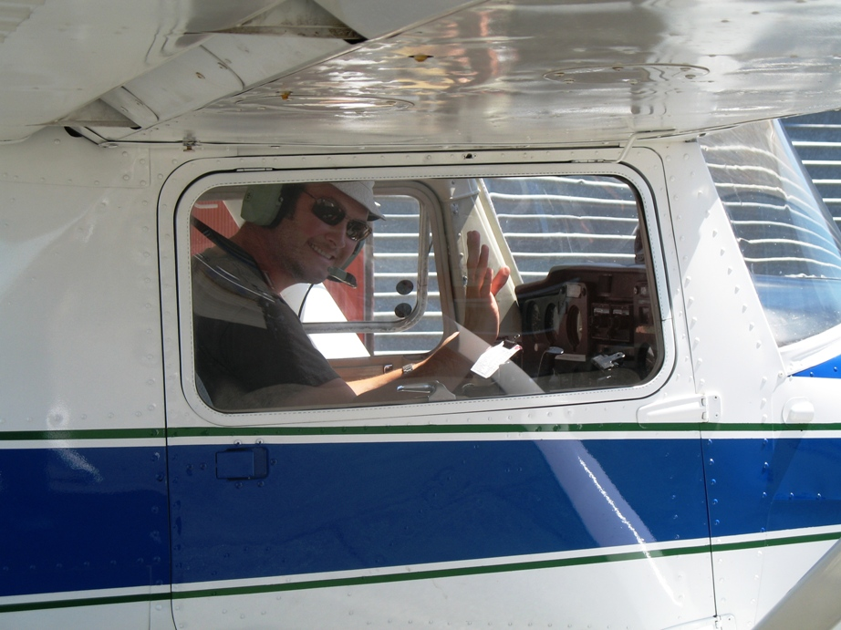 Andrew Sayle in Cessna 150 C-FGZW after completing his First Solo Flight on July 3, 2009.  Langley Flying School.