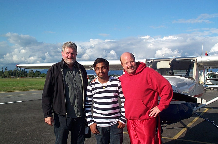 Aniket Chavan with Pilot Examiner Paul Harris and Flight Instructor David Parry.  Langley Flying School.