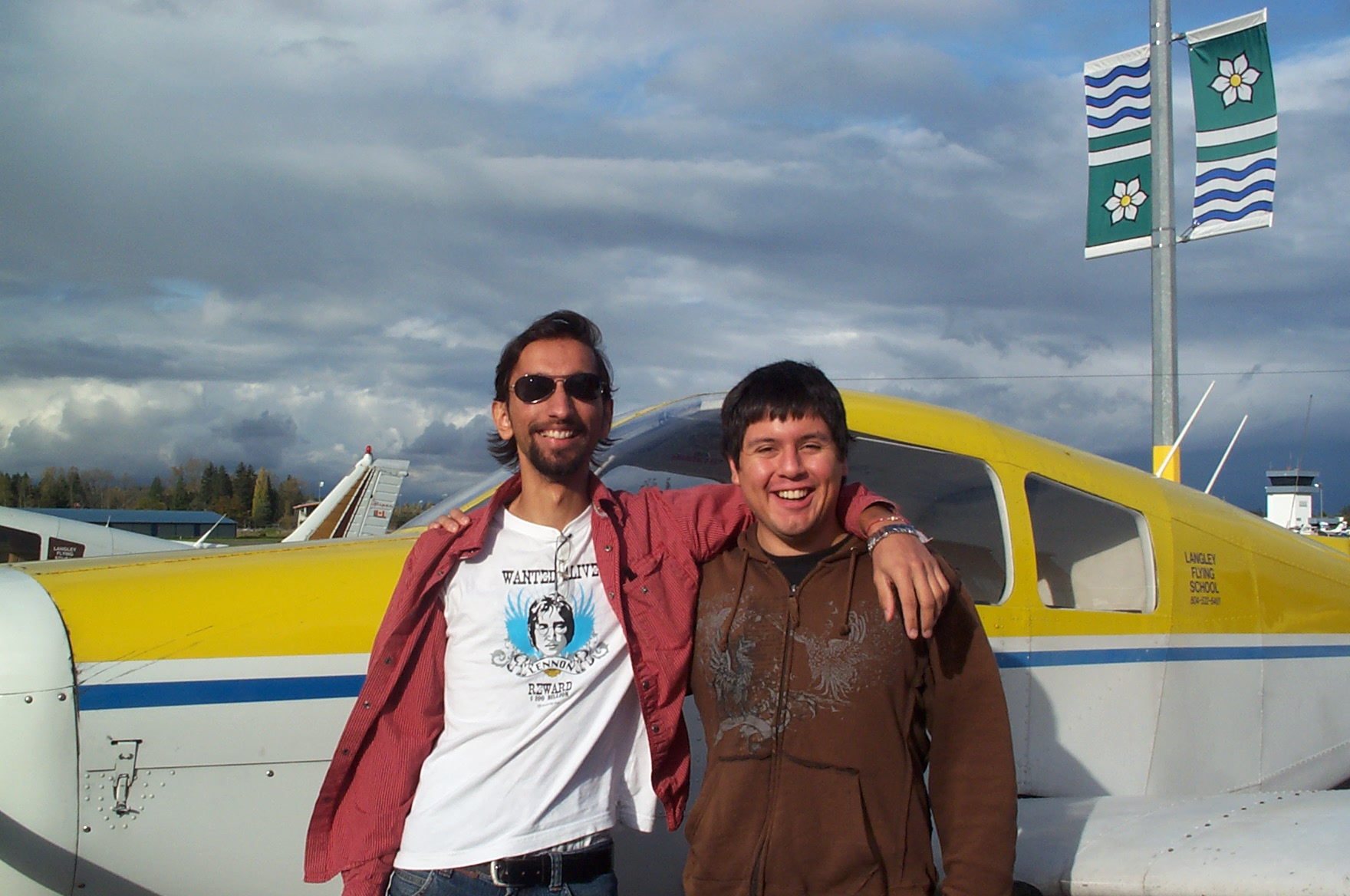 Carlos Calderon Futierrez with his Flight Instructor Mayank Mittal after the successfull completion of Carlos' Private PIlot Flight Test on October 24, 2010. Langley Flying School.