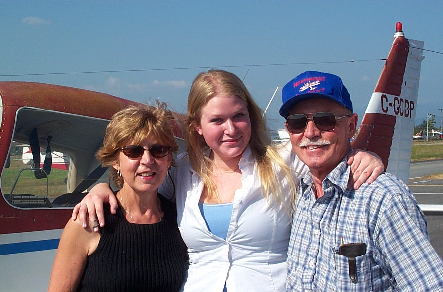 Private Pilot Graduate Carolyn Kristensen with Flight Instructor Rita Methorst and Pilot Examiner Donn Richardson, Langley Flying School.