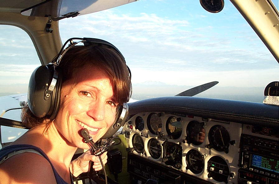 Christine Parkinson conducting an engine shut-down in Piper Seneca GURW.  Langley Flying School