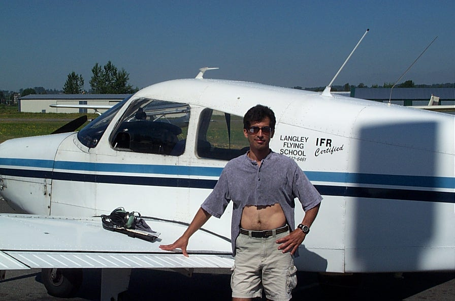 Darren Fernandez, First Solo Flight (shirt tag removed).  Langley Flying School.