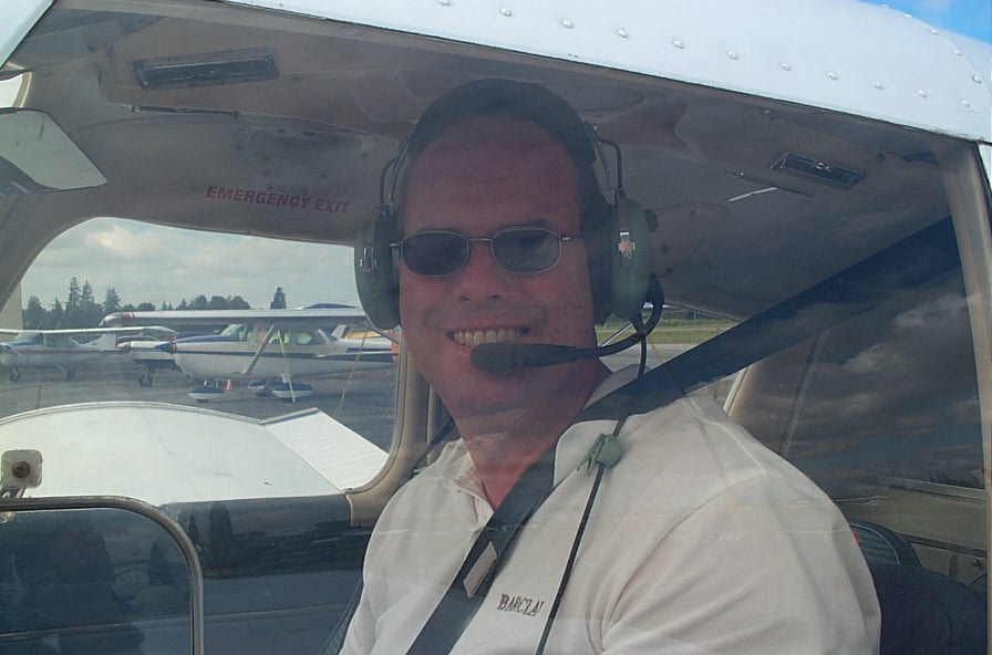 David Day in Cherokee C-GCEP after completing his First Solo Flight, September 17, 2007, Langley Flying School
