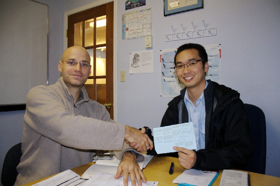 Congratulations to David Kim who successfully completed the qualiflying Flight Test for the Multi-engine Class Rating with Pilot Examiner Todd Pezer on November 16, 2009. Congratulations also to David's Flight Instructor, Phil Craig.