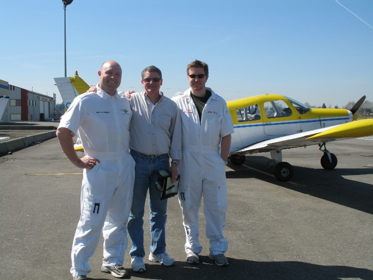 Dave Marshall with his Flight Instructors, Rod Giesbrecht (left) and Phil Craig.  Langley Flying School