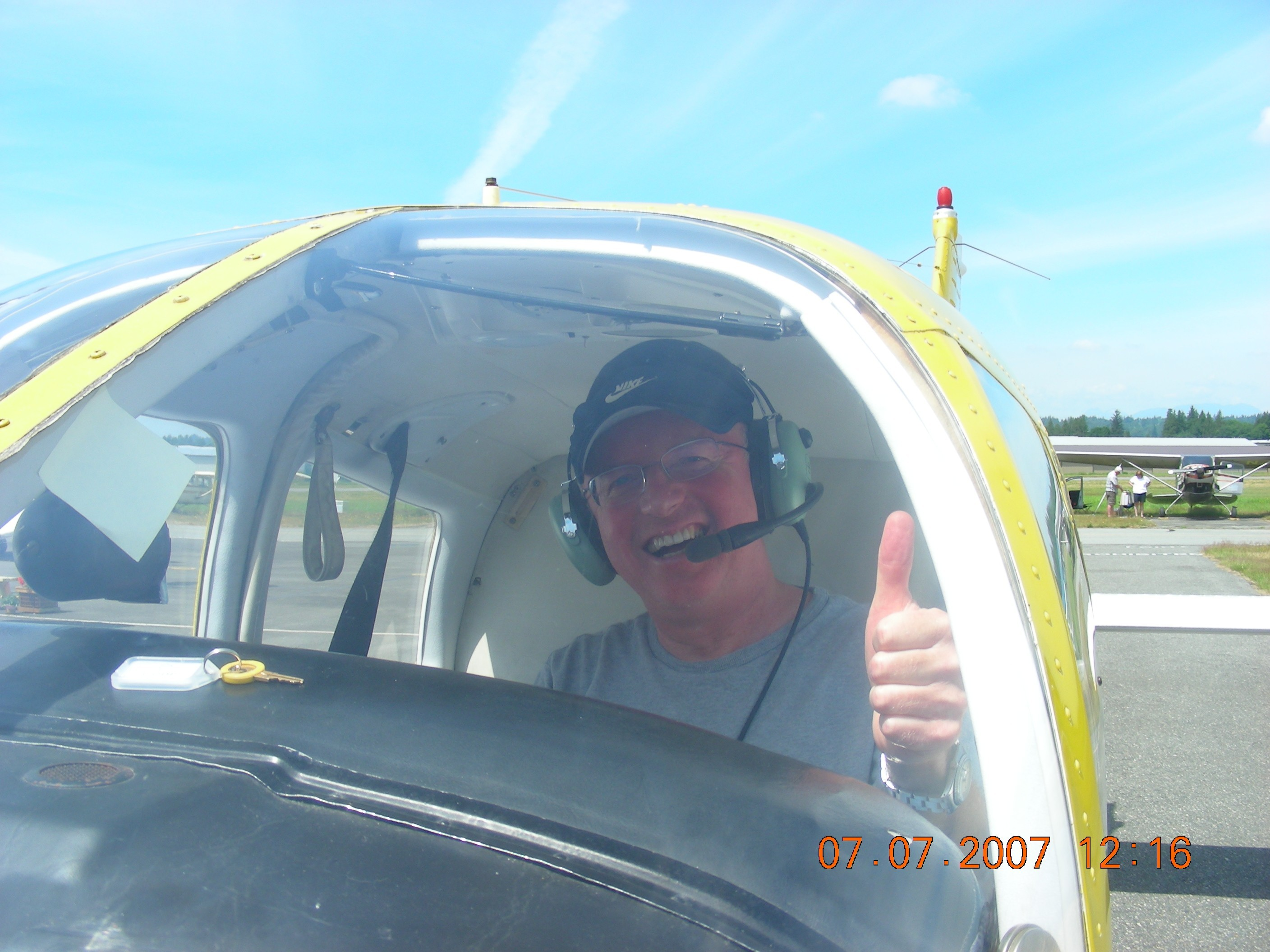 Gregg Goodfellow in the cockpit of Cherokee GODP after the completion of his First Solo Flight.  Langley Flying School.
