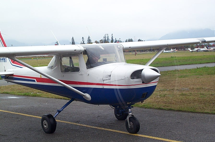 Hussian Lehry is Cessna FPRT moments after completing his First Solo Flight on October 16, 2007.  Langley Flying School.