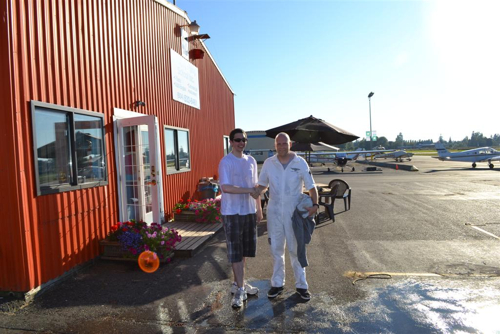 Jeff Priest with his Flight Instructor, Carl Tingstad. Langley Flying School.