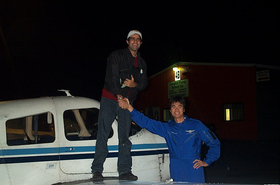 Karn Takkhar on the wing of Cherokee GNIC after the completion of his First Solo Flight on November 4, 2007.  Langley Flying School
