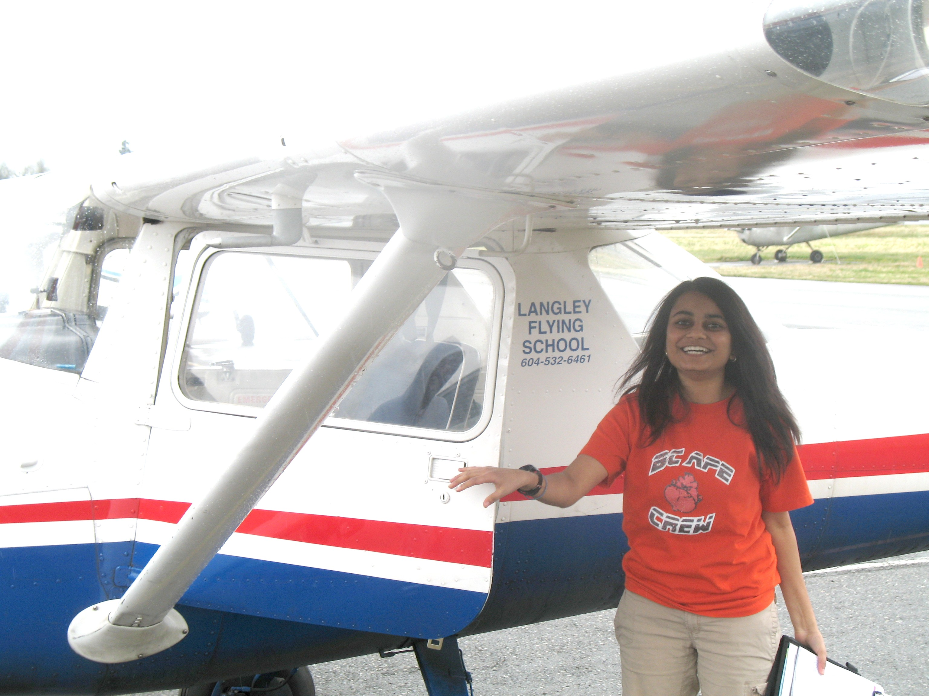 Khushbu Patel with Cessna FPRT after completing her First Solo Flight on March 23, 2008.  Langley Flying School.