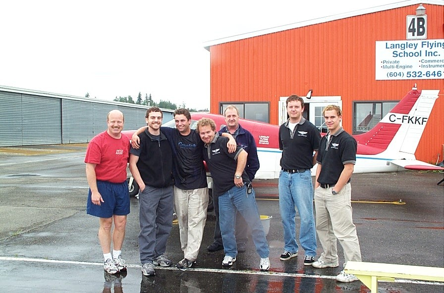 Luke Howard, third from the left, after successfully completing his Instrructor Rating.  Langley Flying School.