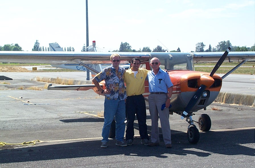 Manish Marwaha with Flight Instructor David Woollam and Pilot Examiner Donn Richardson.  Langley Flying School.