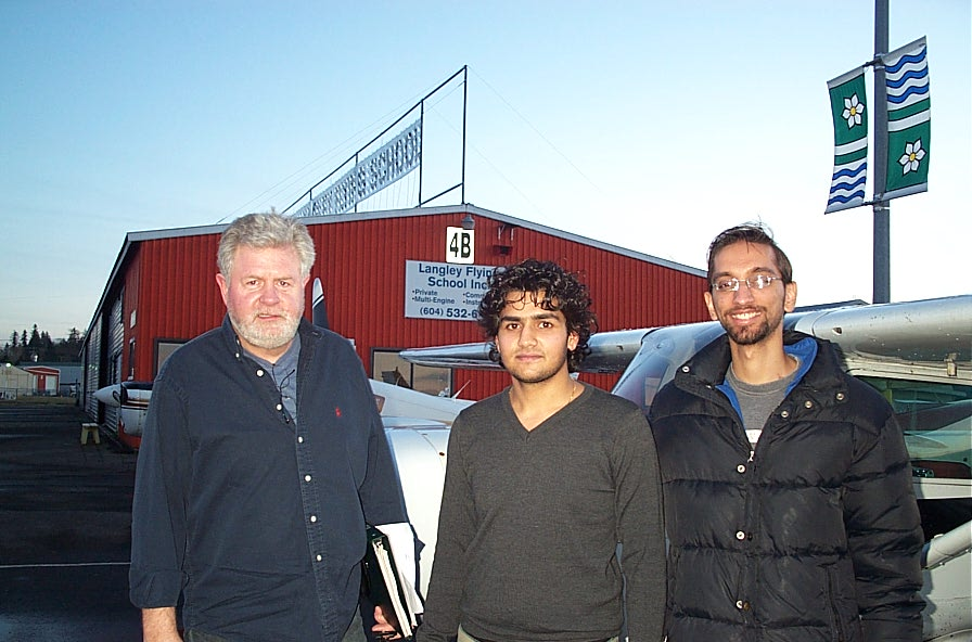 Manoj Shelke with his Flight Instructor Mayank Mittal and Pilot Examiner Paul Harris after the successful completion of Manoj's Commercial Pilot Flight Test on December 19, 2010.