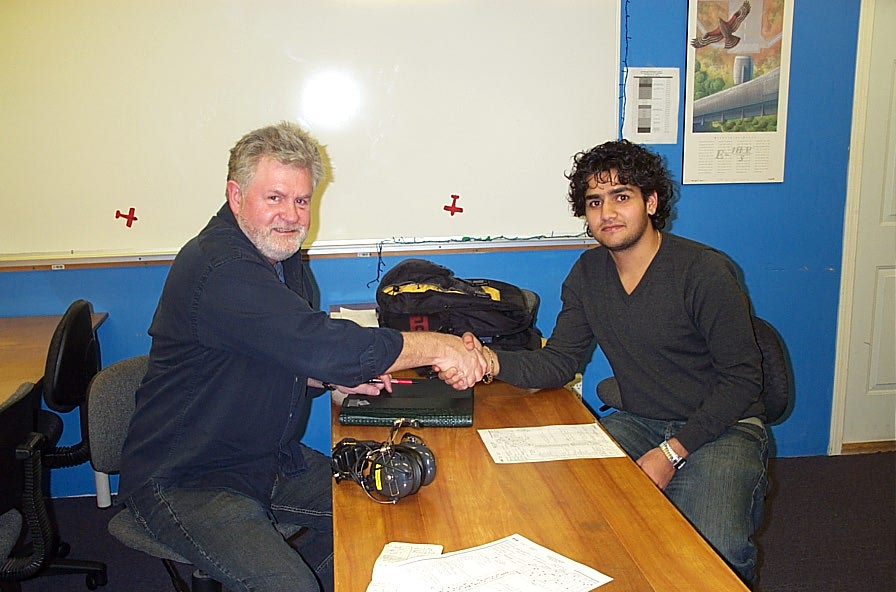 Manoj Shelke with Paul Harris.  Langley Flying School.