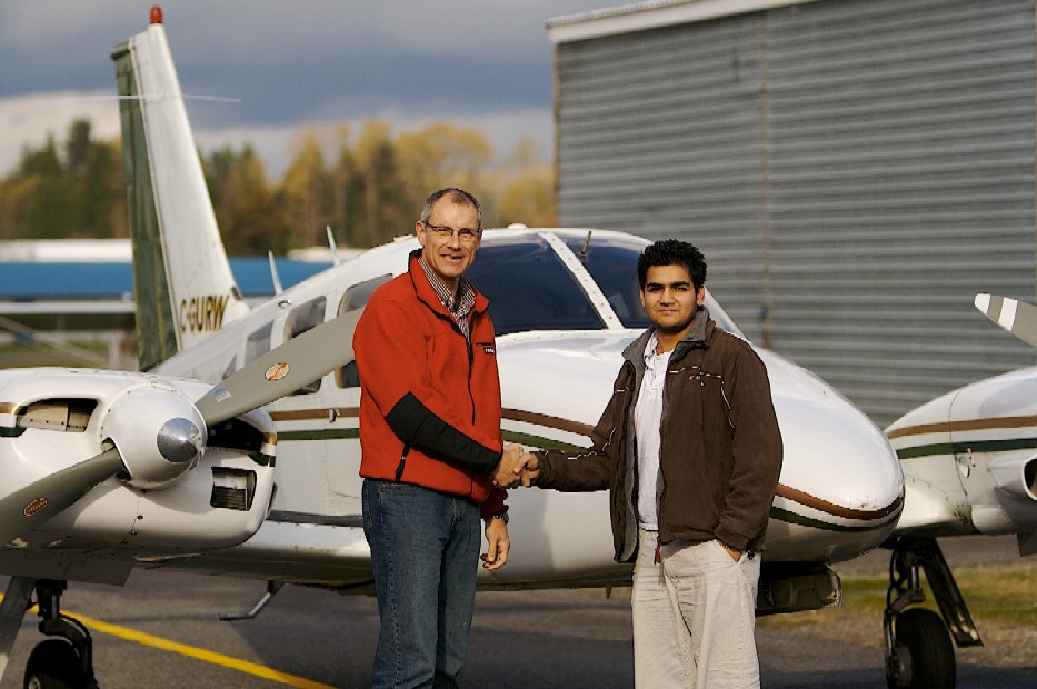 Congratulations to Manoj Shelke who successfully completed the qualiflying Flight Test for the Multi-engine Class Rating with Pilot Examiner Matt Edwards on November 11, 2009. Congratulations also to Manoj's Flight Instructor, Phil Craig.