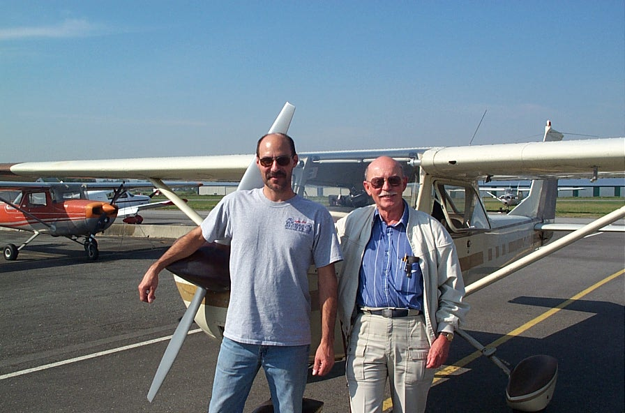 Private Pilot Graduate Mark Capadoca with Flight Test Examiner Donn Richardson, after the completion of Mark's Flight Test.  Langley Flying School.