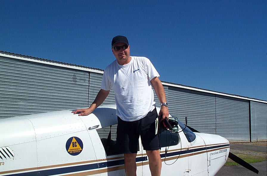 Mark Manastyrski after completing his First Solo Flight on August 1, 2007.  Langley Flying School.
