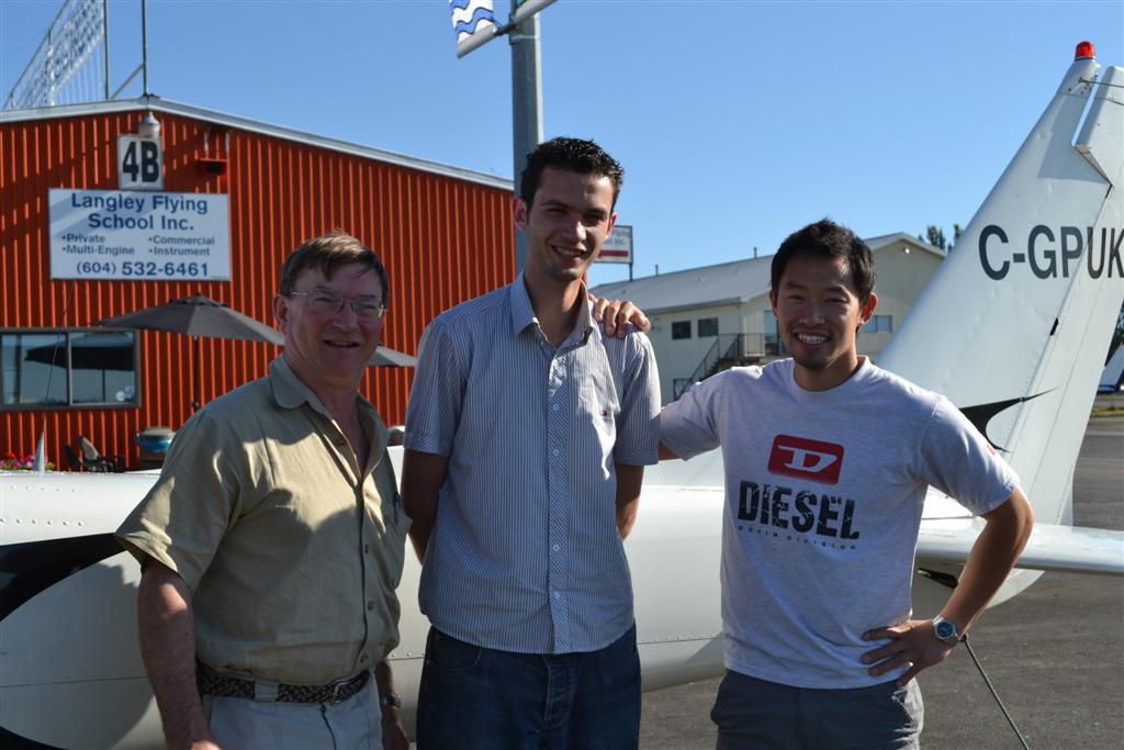 Marwan Alnabulsi with Pilot Examiner John Laing and Flight Instructor Nam Vu. Langley Flying School