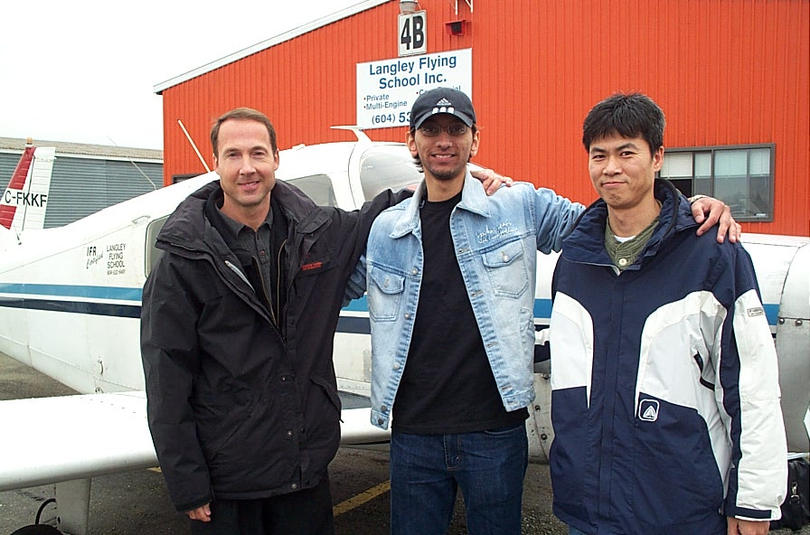 Mayank Mittal with Jeff Durrand and Flight Insgtructor Hoowan Nam after the successful completion of Mayank's Private Pilot Flight Test on January 18, 2008.  Langley Flying School.