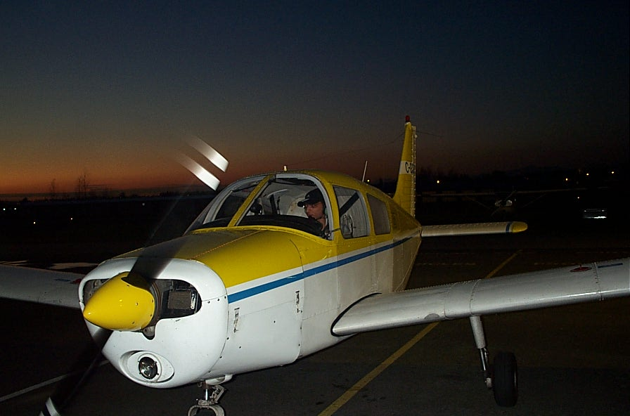 Mayank Mittal in Cherokee GODP after completing his First Solo Flight on October 26, 2007.  Langley Flying School.