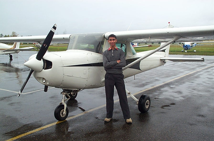 Mohammed Mohiuddin with Cessna GPUK moments after completing his First Solo Flight on October 20, 2007.  Langley Flying School.