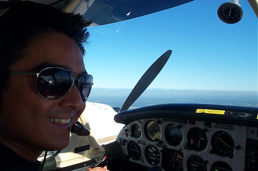 Pilot Nikhil Dongare during a Multi-engine training flight.  Langley