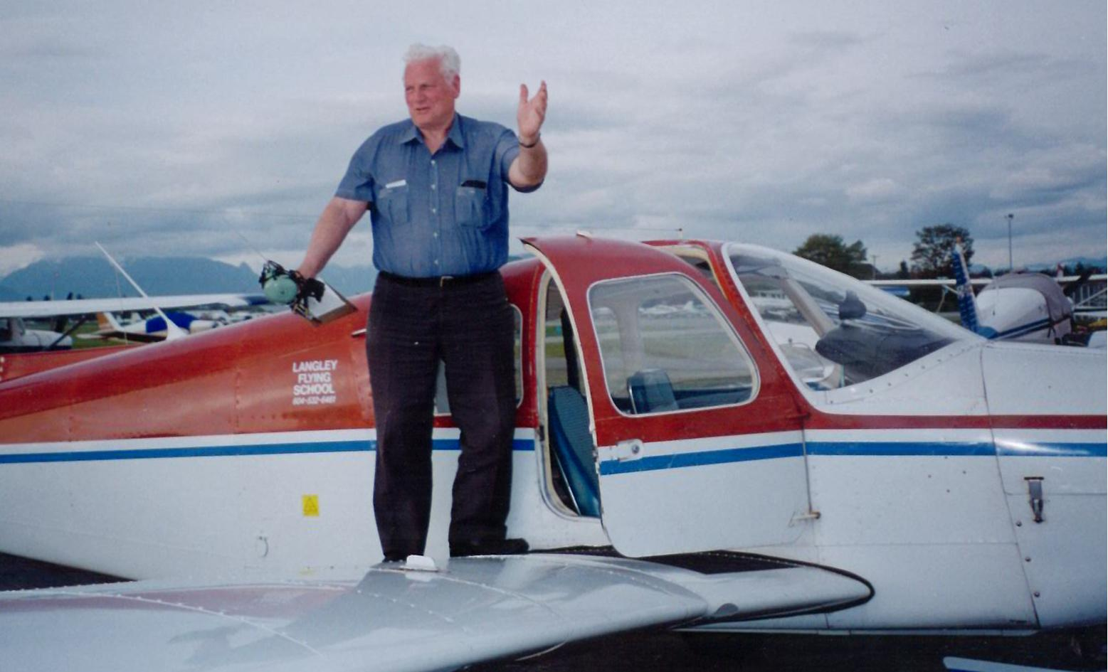 Pete Ray in Cherokee GODP after the completion of his First Solo Flight.  Langley Flying School