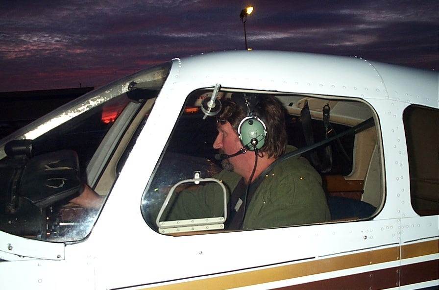 Robert Recknagel in the cockpit of Cherokee GUKG after the completion of his First Solo Flight on December 4, 2008.  Langley Flying School.