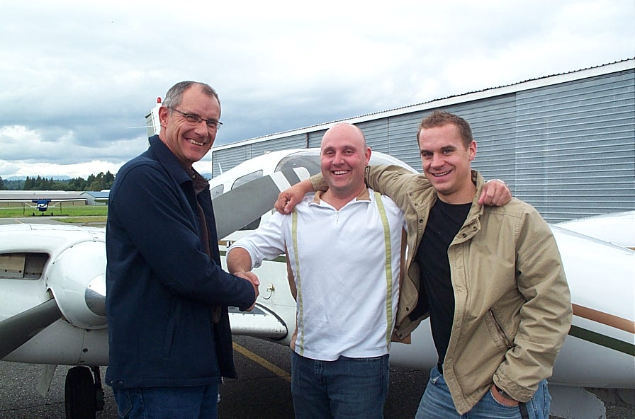 Rod Giesbrecht with Matt Edwards and Ryan Gahan.  Langley Flying School