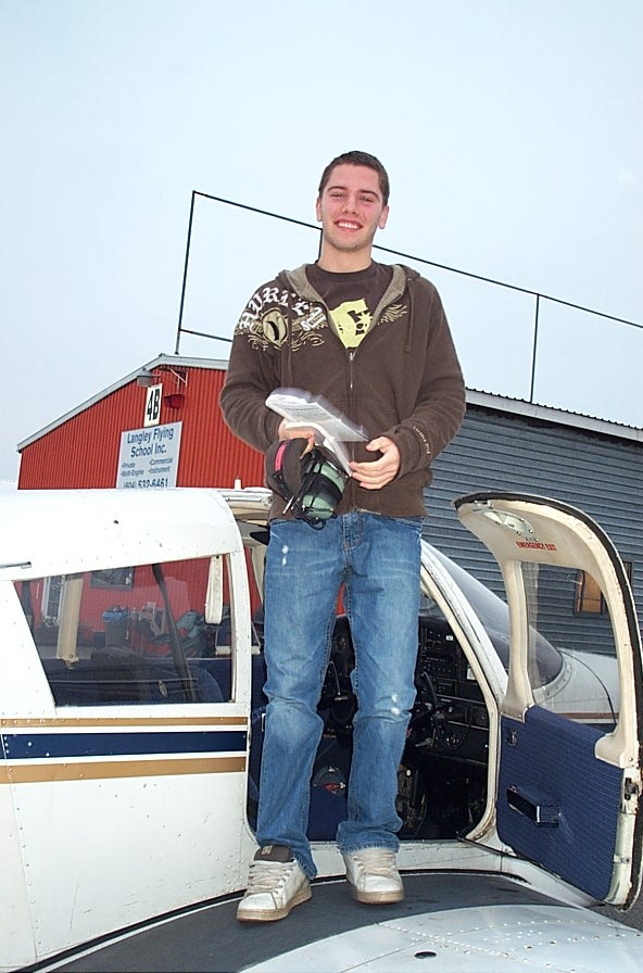Ryan Ostermeier, 2009 Receipient of the Samuel Ruiz Private Pilot Award for Excellence.  Langley Flying School.l
