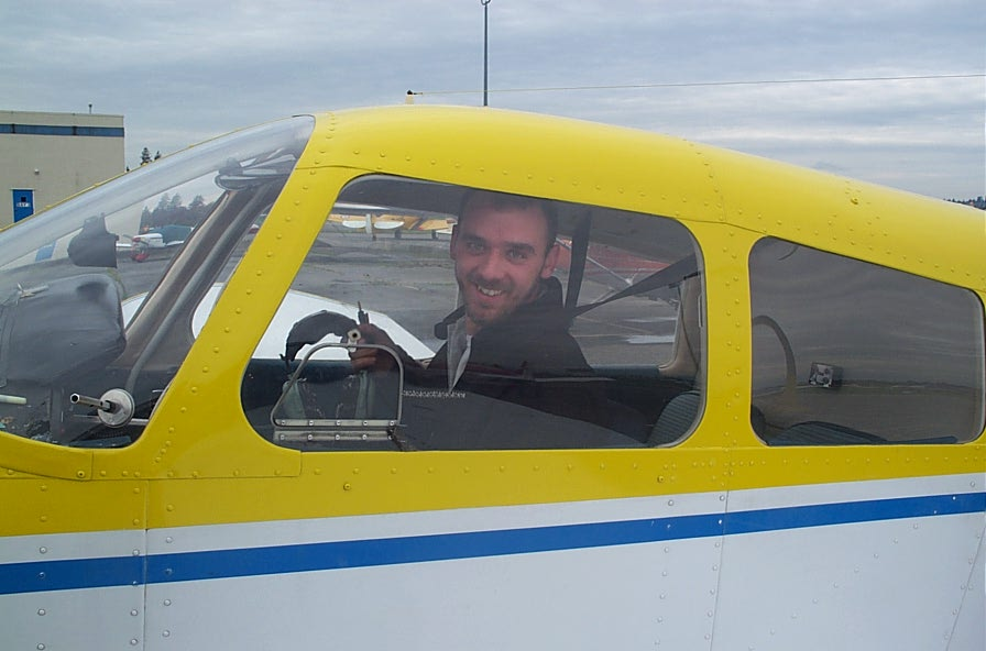 Steve Marsh in Cherokee GODP after completing his First Solo Flight on October 20, 2004.  Langley Flying School.
