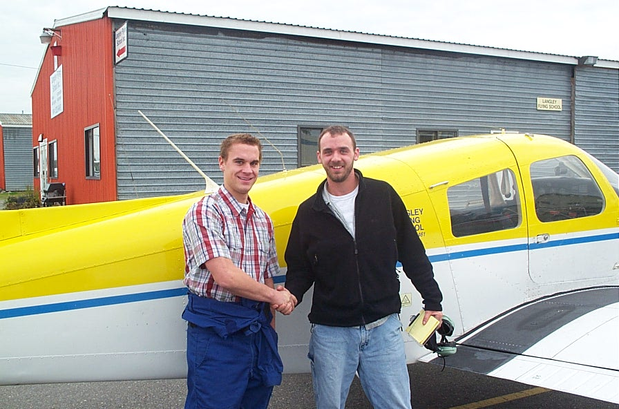 Steve Marsh with his Flight Instructor Ryan Gahan after completing his First Solo Flight.  Langley Flying School.