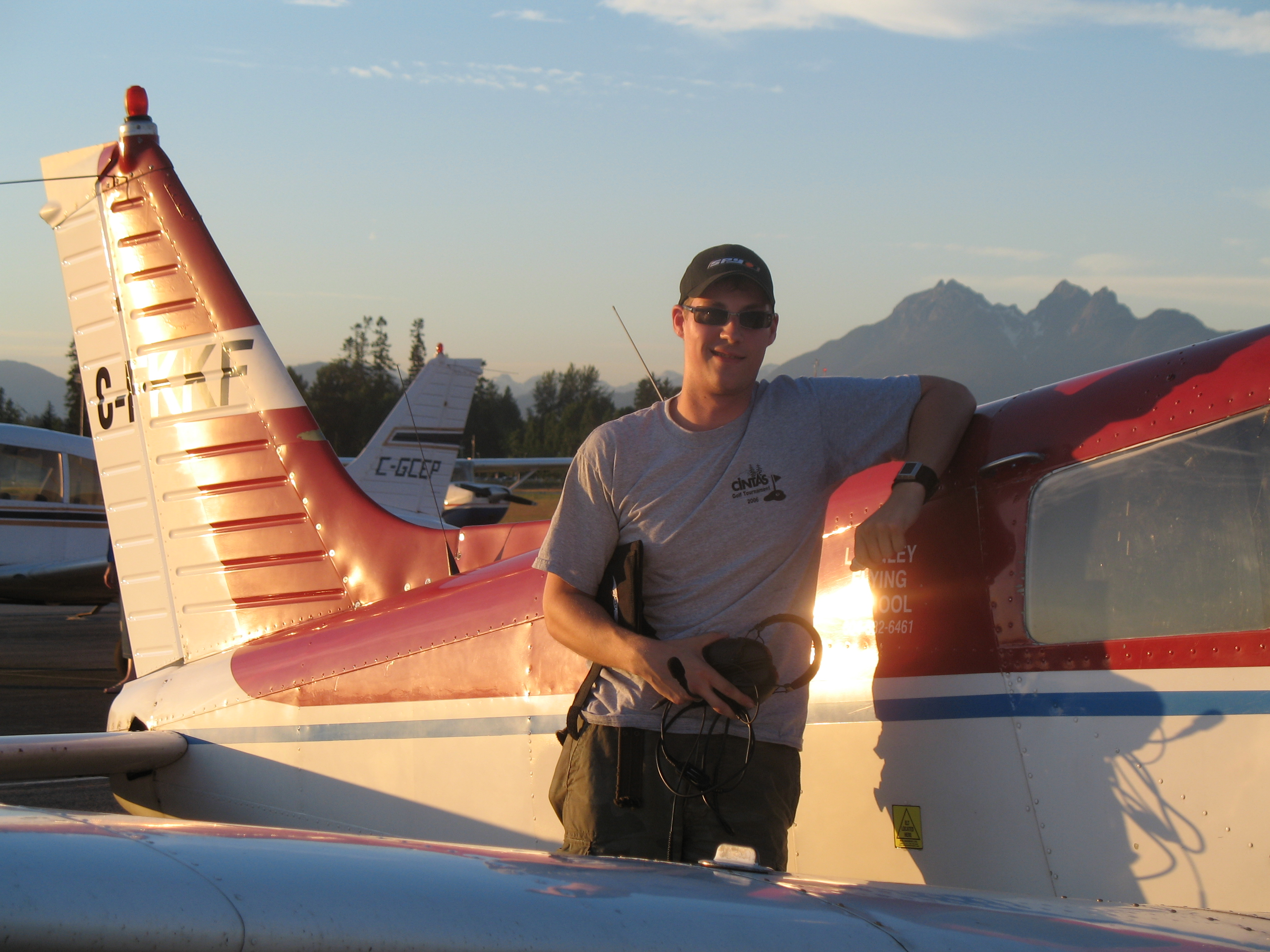 Trevor Conkey following the completion of his First Solo Flight in Cherokee FKKF on July 12, 2008.  Langley Flying School