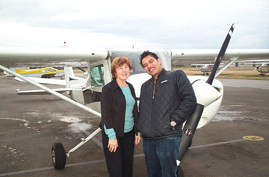 Vikas Choudhary with his Flight Instructor, Rita Methorst, after the successful completion of his Private Pilot Flight Test.  Langley Flying School.