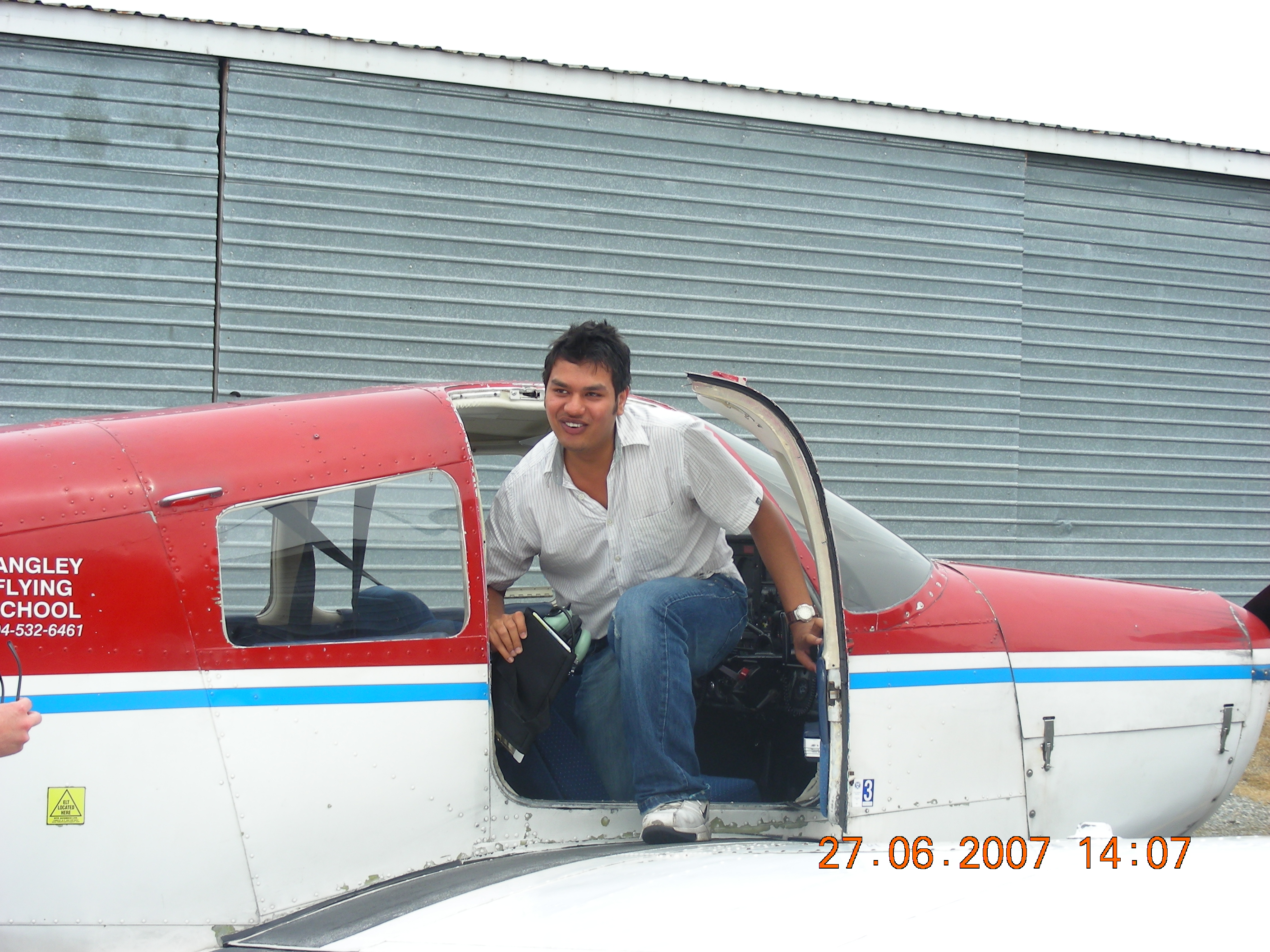 Vikas Choudhary on the wing of Cherokee FKKF after his First Solo Flight.  Langley Flying School.