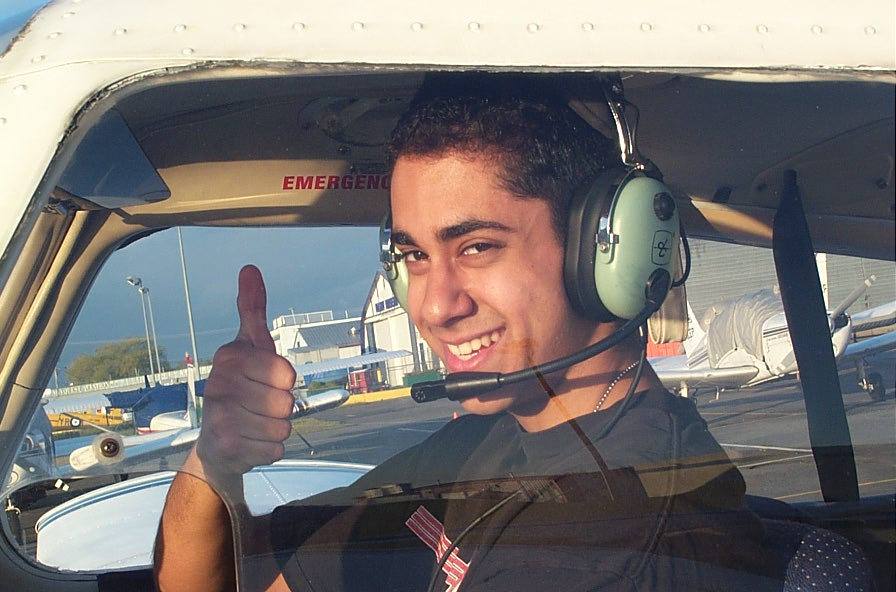 Will Morabi-Pazooki, First Solo Flight, May 3, 2008.  Langley Flying School.