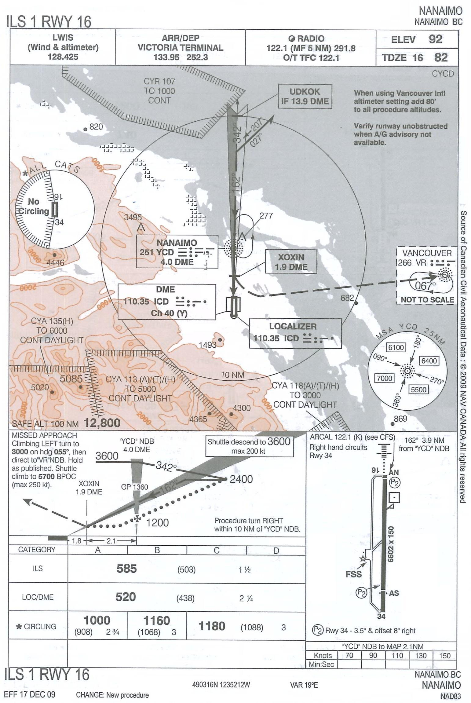 Nanaimo Airport ILS 1 RWY 16, Langley Flying School.