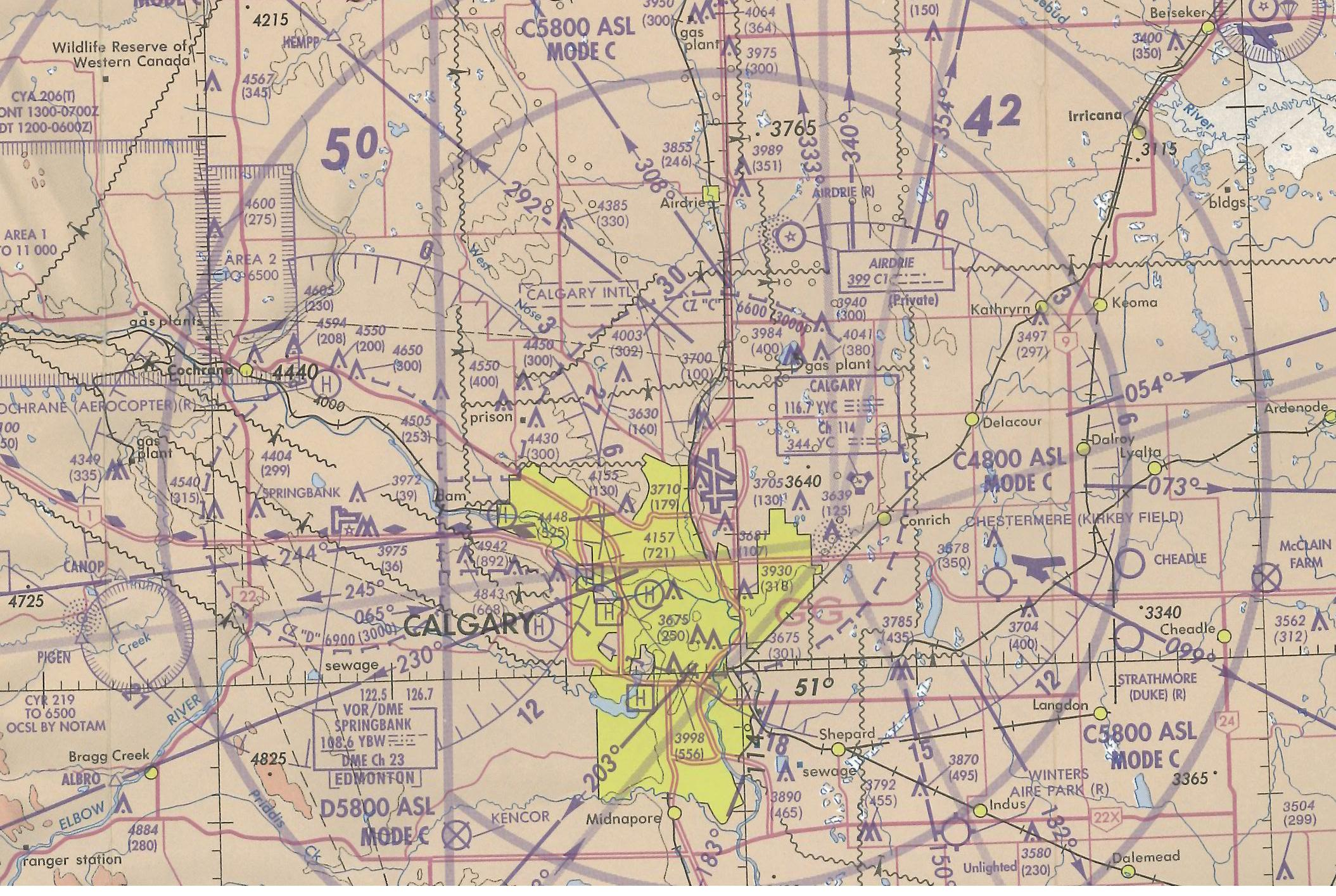 Calgary Control Zone, Langley Flying School's Map Room