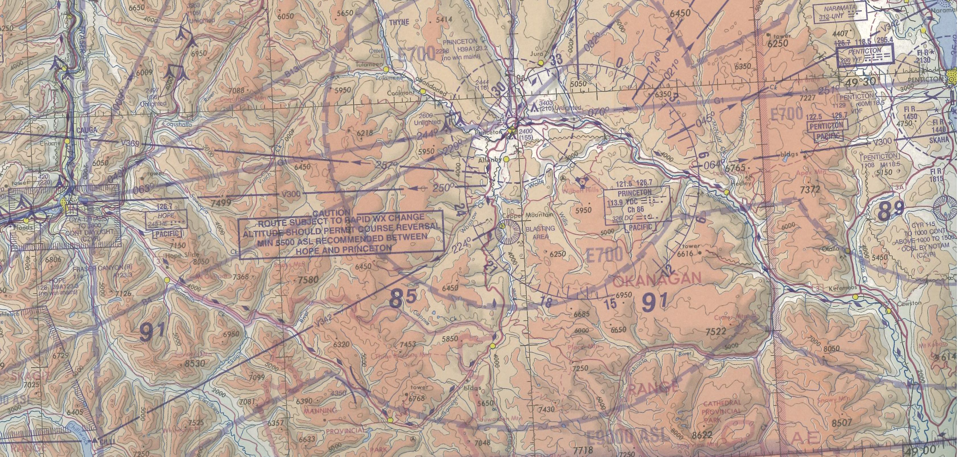 Map Room, Hope--Princeton Rout (Hwy #3), Langley Flying School