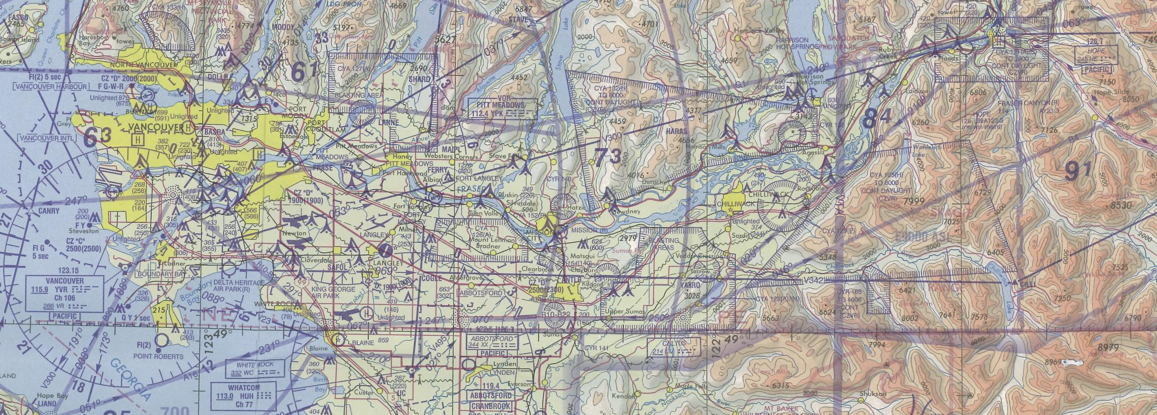 Vancouver to Chilliwack, Langley Flying School's Map Room