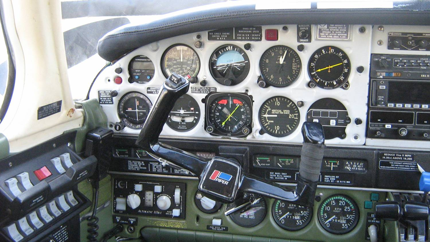 Seneca Electrical Switches and Instrument Panel.  Langley Flying School.