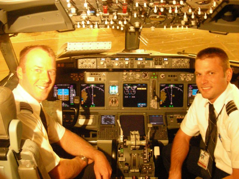 Former Student and Staff Flight Instructor, Sheldon Pohl (right), now a Pilot with WestJet.  Langley Flying School.