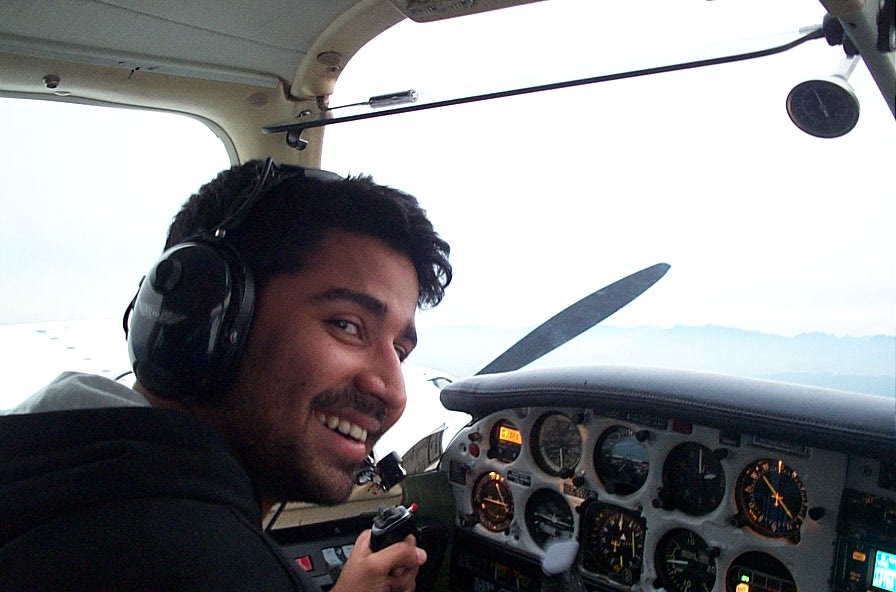 Abhinav Sonak at the controls of Piper Seneca GURW during an engine shut-down exercise.  Langley Flying School.