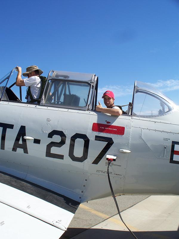 Bryan Dudas: Sweetest flight of my life! A ride in a T6 Texan. One of the local owner and pilot of a T-6 offered to give me a ride as long as I paid for fuel. It was an hour flight. Definitely worth the $100.00!