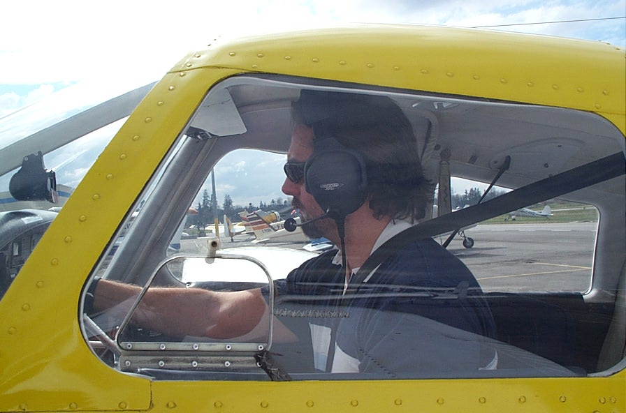 Josh Olson in GODP after his First Solo Flight.  Langley Flying School.